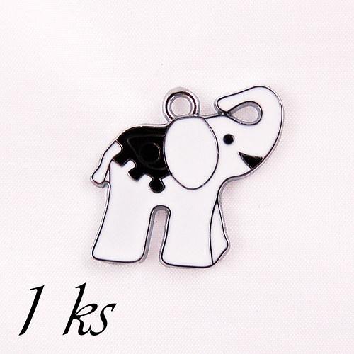 Bílý smaltovaný slon - 1ks