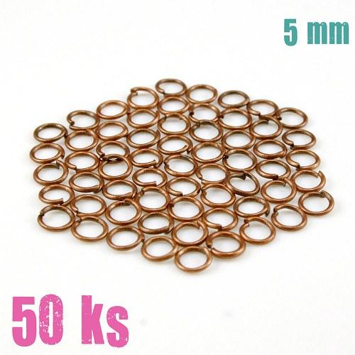 Měděné kroužky 5 mm (50 ks)