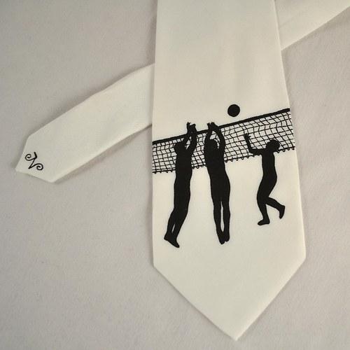 Hedvábná volejbalová kravata černo-bílá
