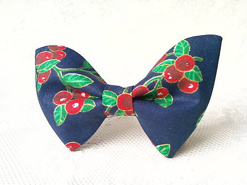 Dark blue bow tie with cherries