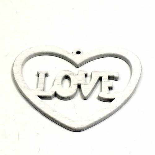 Dřevěný přívěsek - srdce, bílé