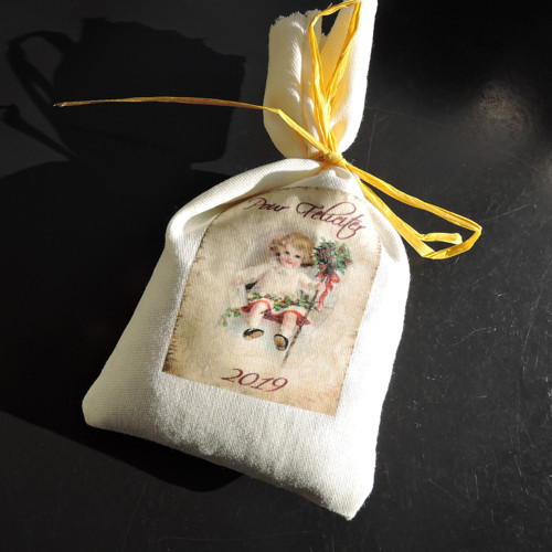 Vintage dekorační pytlík plněný levandulí
