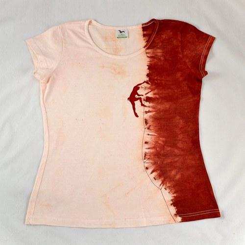 Vínovo-růžové dámské triko s horolezcem L