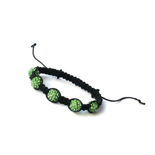 Světle zelený Shamballa náramek na černé