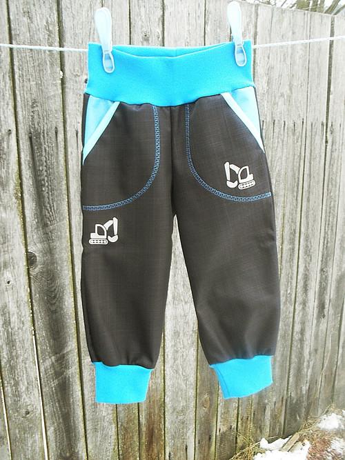 Softshelové kalhoty -černá,tyrkys
