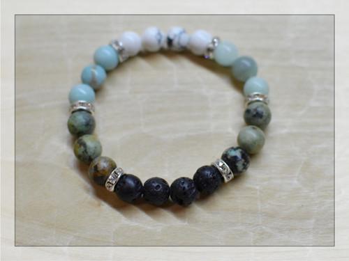 Kamenný náramek - láva, tyrkys, amazonit, magnezit