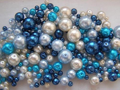 Voskované perly modrý MIX Ø4-10mm 50g skleněné