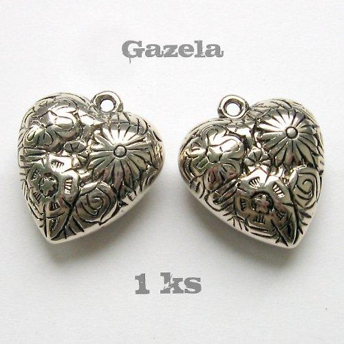 Kovové srdce s květinami - 1 ks