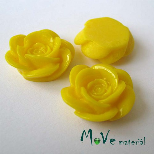 Kabošon květ lesklý A1 - resin - 2ks, žlutá