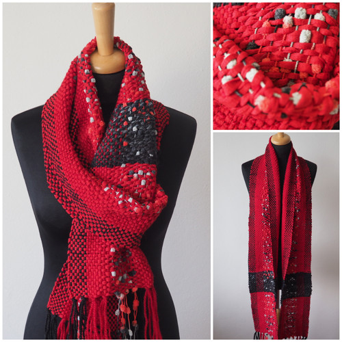 Beruška malá - ručně  tkaná šála
