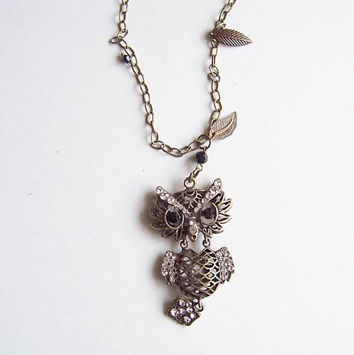 Sova Clementis, bronzová, náhrdelník