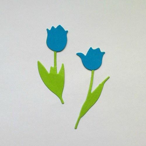 Výsek - tulipány sv.modré  2ks