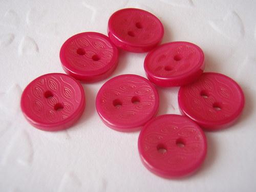 knoflíček  2 dírky 5 ks tmavě růžový