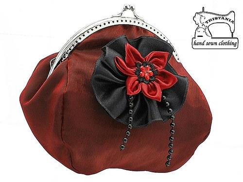 společenská kabelka s organzou -  taštička 0875
