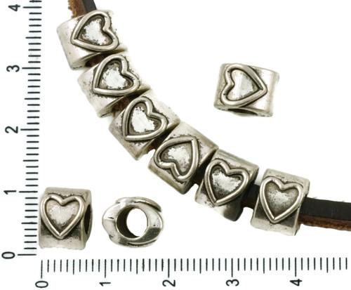8ks Starožitné Stříbro Tón Valentine Velký Otvor O