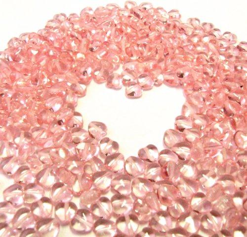 Srdíčka, korálky 6 mm, růžová, 40 ks