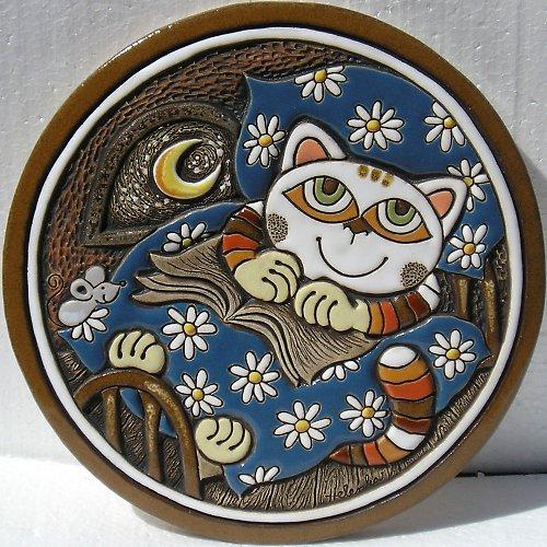 Keramický obrázek - Kočka v peřině K-132-N1