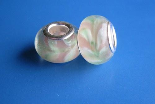 Korálky - 2ks - růžové s listy