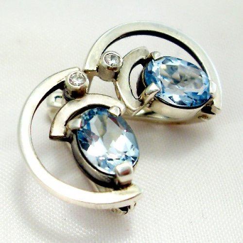 Náušnice «Sputnik» - Ag 925/1000, modrý topaz