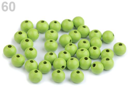 Dřevěné korálky Ø8mm (cca 60ks) - zelená sv.