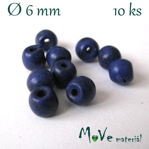 Korálky syntetický tyrkenit 6mm, 10ks, stř. modrý