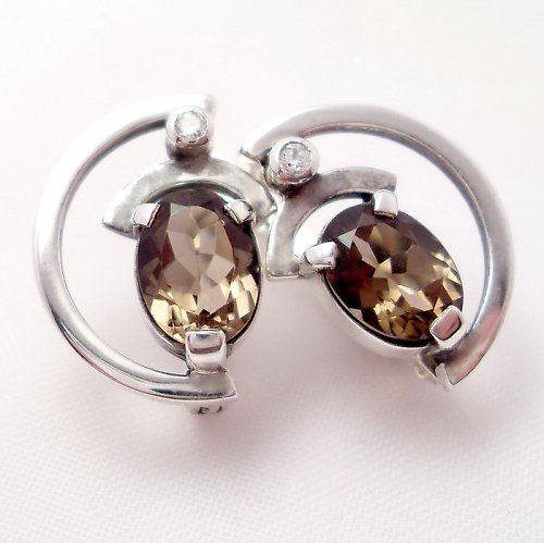 Náušnice «Sputnik» - stříbro 925, přírodní záhněda