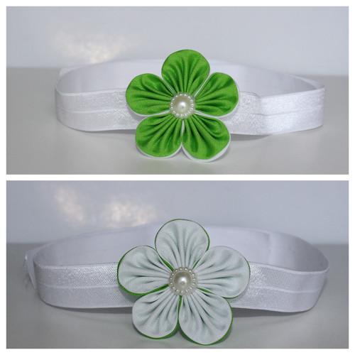 Čelenka pruženka - zeleno-bílý květ
