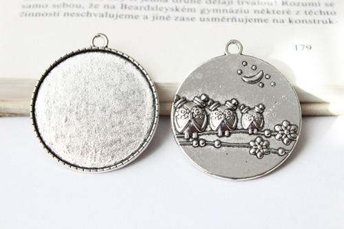 Kruhové lůžko 35 mm (rub se sovičkami) - Stříbrné