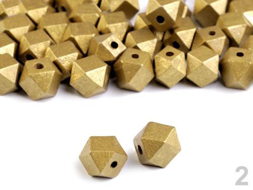 Dřevěné korálky 12x16 mm metalické (10ks) - zlatá