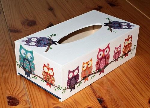 Sova k sově sedá - krabička na kapesníky model 2