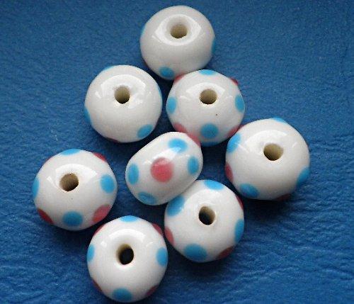 Rondelka bílá s puntíky - 2ks