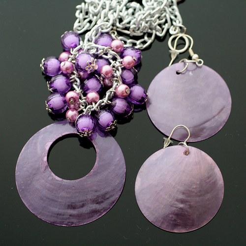Fialová perleťová sada - náhrdelník+náušnice - VÝP