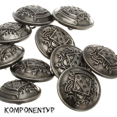 Knoflík (25 mm, kovově stříbrný, tmavý