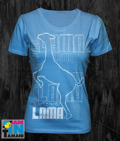 Dámské modré-aqua tričko s Lamou velký potisk 2
