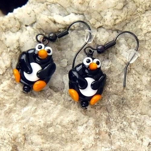 Náušnice tučňák - placka - vinuté perle