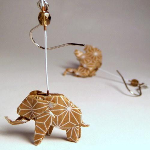 Kávová slůňátka - origami náušnice