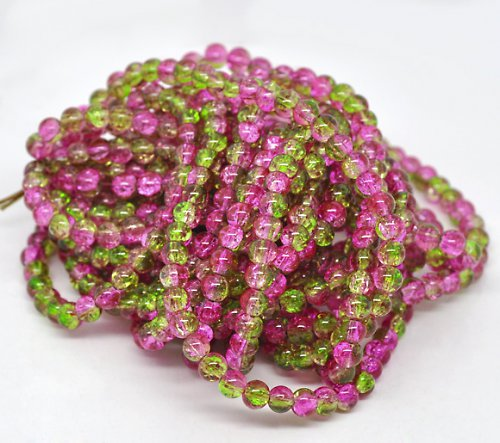 práskačky zeleno-růžové 8mm/1 šňůrka(cca120ks)