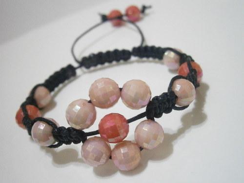 Náramek Kytička - růžový/červený (macramé)