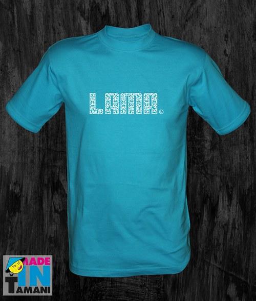 Pánské tyrkysové tričko Lama 04
