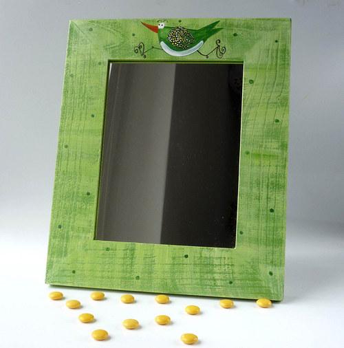 zrcadlo s trpaslíkem - zelené s ptáčkem