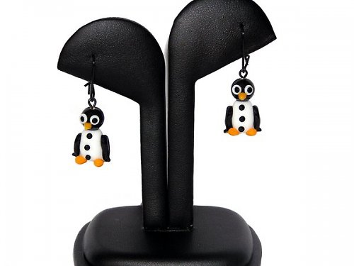 Náušnice tučňák - vinuté perle