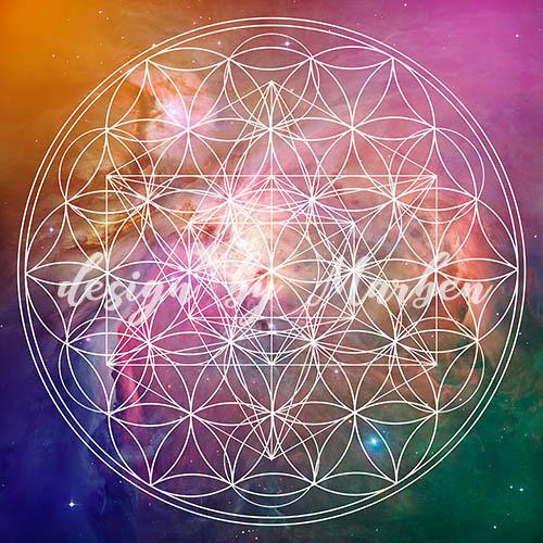 Květ života s Merkabah a vesmírem