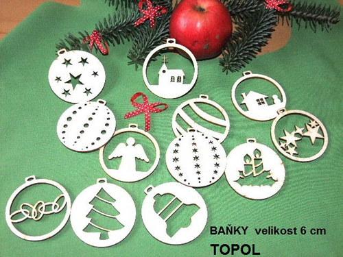 Vánoční dřevěné ozdoby BAŇKY TOPOL - 14 druhů /SET