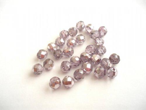 Broušené perle světle fialové se stříbrem