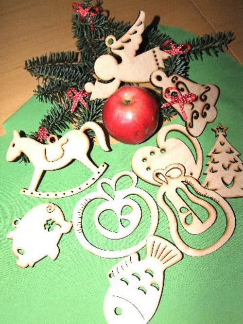 Vánoční dřevěné ozdoby FIGURKY - 9 druhů-M/SADA