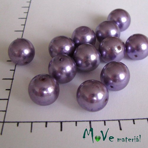 České voskové perle fialové 12mm 12ks