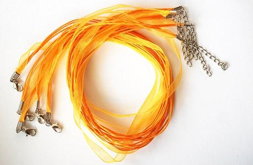 Náhrdelník - organza stuha sv. oranžová