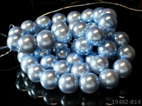 19482-B14 Voskované perly 16mm SV.MODRÉ, bal. 2ks