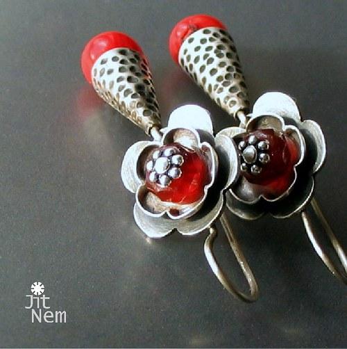 Květy do uší červené ::ag925::