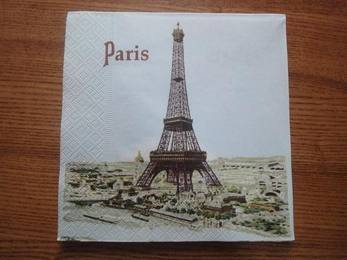 Ubrousek na decoupage - malovaná Paříž